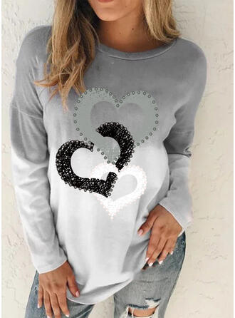 Gradient Heart Print Round Neck Long Sleeves T-shirts