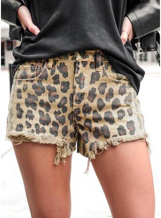 Tassel Leopard Casual Vintage Shorts Denim & Jeans