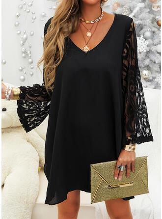 Lace/Solid Long Sleeves/Flare Sleeves Shift Above Knee Little Black/Elegant Dresses