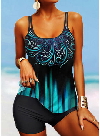 Stripe Print Strap U-Neck Boho Tankinis Swimsuits