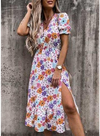 Floral Short Sleeves Puff Sleeve A-line Vacation Maxi Dresses