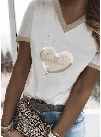 Heart Print Sequins Letter V-Neck Short Sleeves T-shirts