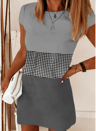 Color Block/Plaid Short Sleeves Shift Above Knee Casual T-shirt Dresses