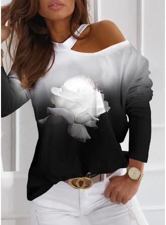 Print Floral Gradient One-Shoulder Long Sleeves Casual Blouses