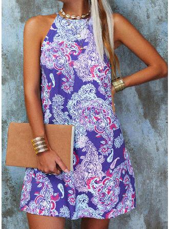 Print Sleeveless Shift Above Knee Casual/Boho Dresses