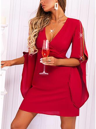 Solid 1/2 Sleeves Cold Shoulder Sleeve Sheath Above Knee Elegant Dresses