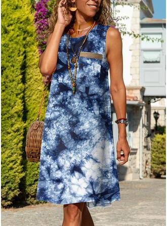 Tie Dye Sleeveless Shift Knee Length Casual Dresses