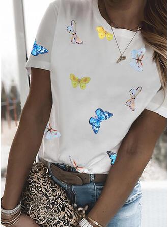 Animal Print Round Neck Short Sleeves T-shirts
