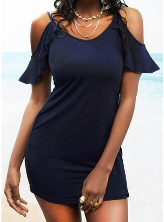 Solid/Backless Short Sleeves Bodycon Above Knee Casual Dresses