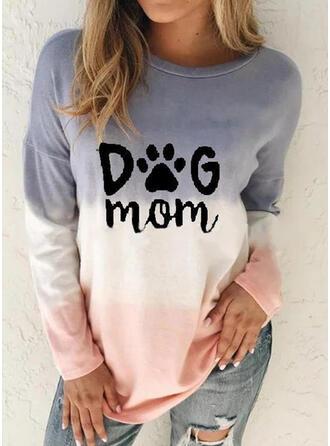 Animal Print Gradient Letter Round Neck Long Sleeves Sweatshirt
