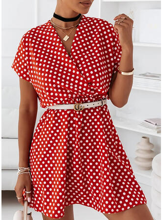 PolkaDot Short Sleeves A-line Above Knee Casual Wrap Dresses