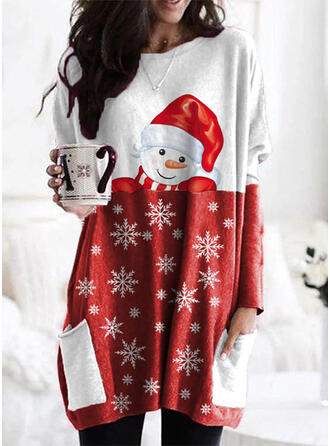 Christmas Print Color Block Round Neck Long Sleeves Christmas Sweatshirt