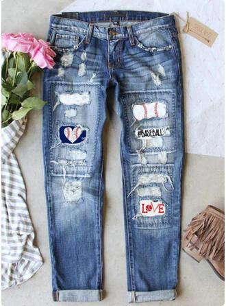 Print Ripped Tribal Vintage Denim & Jeans
