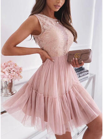 Lace/Solid/Backless Sleeveless A-line Above Knee Party Skater Dresses