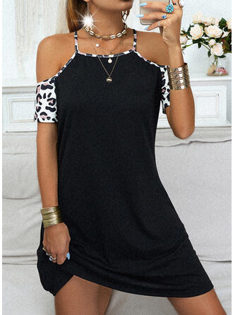 Leopard Short Sleeves Shift Above Knee Casual Dresses