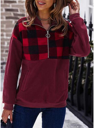 Plaid Lapel Long Sleeves Sweatshirt