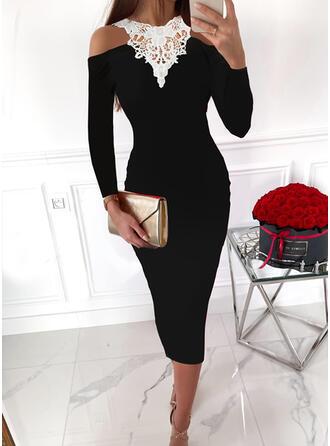 Color Block Lace Long Sleeves Cold Shoulder Sleeve Bodycon Pencil Elegant Midi Dresses