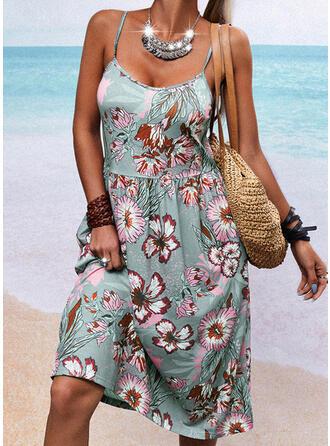 Print/Floral/Backless Sleeveless A-line Knee Length Casual Slip/Skater Dresses