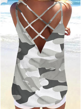 Backless Camouflage Print Round Neck Sleeveless Tank Tops
