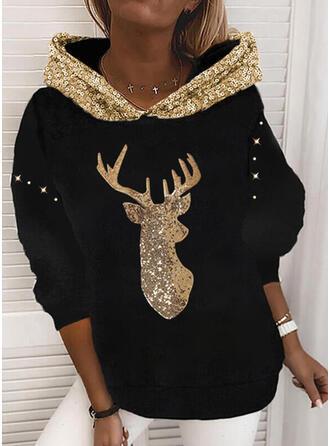 Christmas Animal Sequins Long Sleeves Christmas Sweatshirt