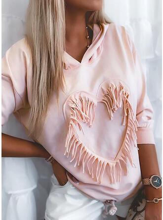 Heart Hooded Long Sleeves Sweatshirt