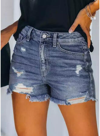 Plus Size Ripped Tassel Sexy Vintage Shorts Denim & Jeans