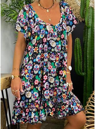 Print/Backless Short Sleeves Shift Knee Length Casual Tunic Dresses