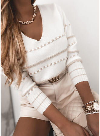 Striped V-Neck Casual Sweaters