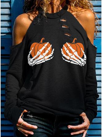Halloween Print Cold Shoulder Long Sleeves Cold Shoulder Sleeve Casual Blouses