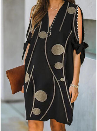 Print/Beaded 1/2 Sleeves/Split Sleeve Shift Knee Length Elegant Dresses