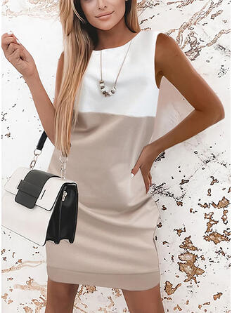 Color Block Sleeveless Shift Above Knee Elegant Dresses