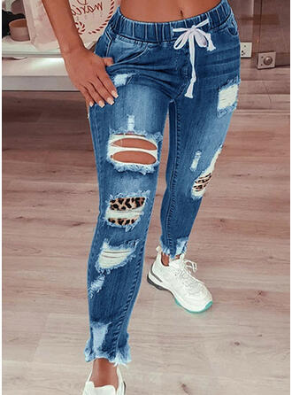 Ripped Leopard Drawstring Casual Vintage Denim & Jeans