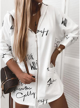 Knit Long Sleeves Print Letter Wide-Waisted Coats