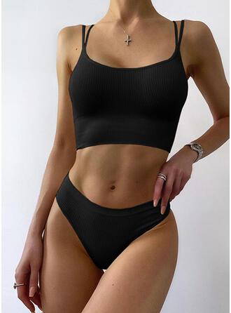 Solid Color Strap U-Neck Casual Bikinis Swimsuits