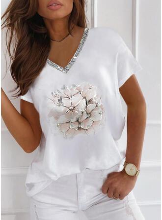 Floral Print Sequins V-Neck Short Sleeves T-shirts
