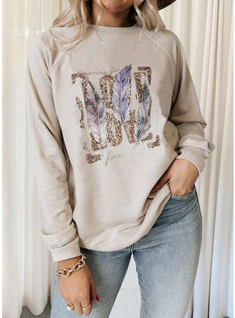 Print Letter Feather Round Neck Long Sleeves Sweatshirt