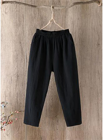 Pockets Shirred Plus Size Casual Sporty Pants