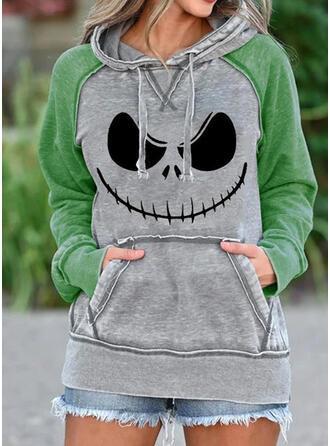 Halloween Print Pockets Long Sleeves Hoodie