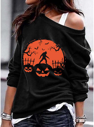 Halloween Print Off the Shoulder Long Sleeves Sweatshirt