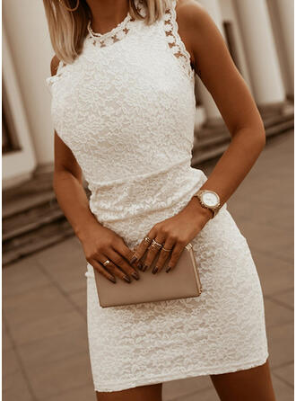 Lace/Solid Sleeveless Bodycon Above Knee Elegant Dresses