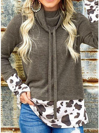Leopard Hooded Long Sleeves Sweatshirt