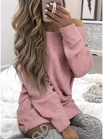 Solid Knit Long Sleeves Dropped Shoulder Shift Above Knee Casual Sweater Dresses