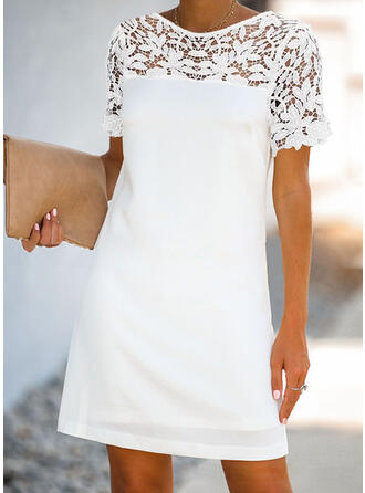 Lace/Solid Short Sleeves Shift Above Knee Casual/Elegant Dresses