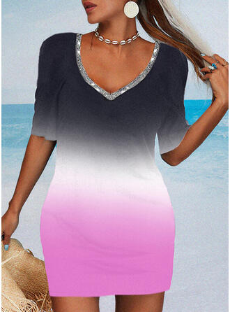 Gradient 1/2 Sleeves Bodycon Above Knee Casual Dresses