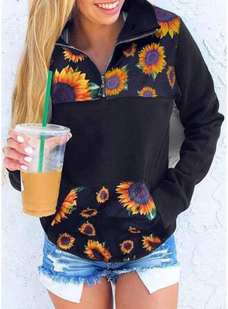 Sunflower Print Lapel Long Sleeves Sweatshirt