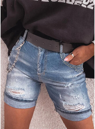 Pockets Ripped Casual Tribal Shorts Denim & Jeans