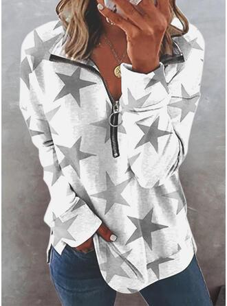 Print Lapel Long Sleeves Sweatshirt