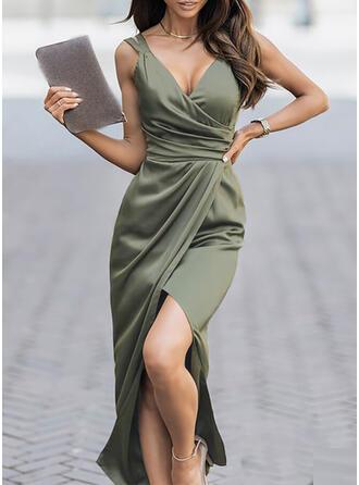 Solid Sleeveless Sheath Party/Elegant Maxi Dresses