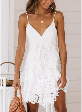 Solid Lace Sleeveless A-line Above Knee Sexy/Casual/Vacation Slip/Skater Dresses