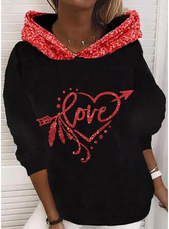Sequins Heart Letter Long Sleeves Hoodie